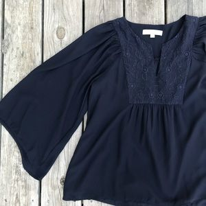 LOFT embroidered blue blouse